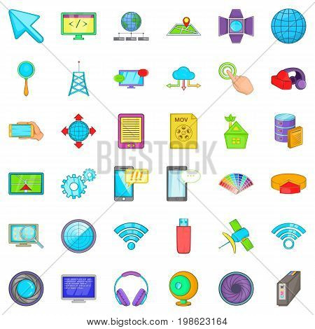 Web map icons set. Cartoon style of 36 web map vector icons for web isolated on white background