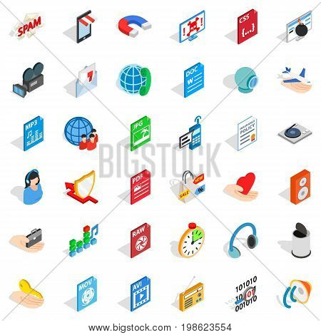Web folder icons set. isometric style of 36 web folder vector icons for web isolated on white background