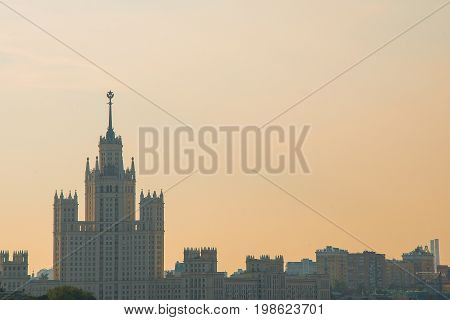 Daytime aerial view of Moscow soviet architecture sunrise