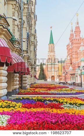 Flower festival in Gum. The main Department store of Moscow in colors. Nikolskaya street near the Kremlin. Russia.