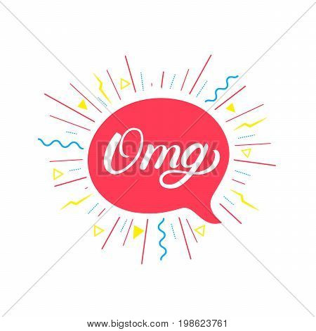 Omg hand written lettering background. Colorful poster, card, print. Bubble icon speech phrase. Vector illustration.