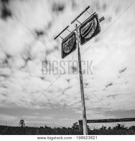 Old Rustic Fuel Station Sign In The Countryside