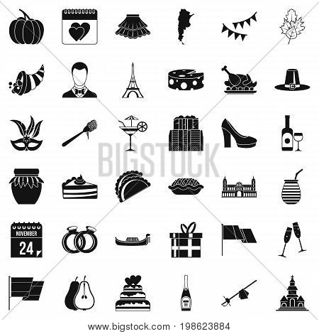 Sweet wine icons set. Simple style of 36 sweet wine vector icons for web isolated on white background