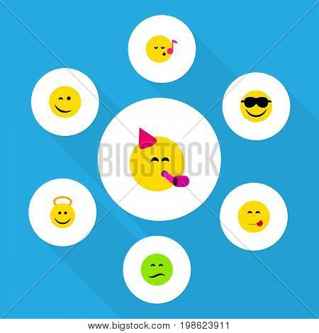 Flat Icon Emoji Set Of Descant, Angel, Party Time Emoticon And Other Vector Objects