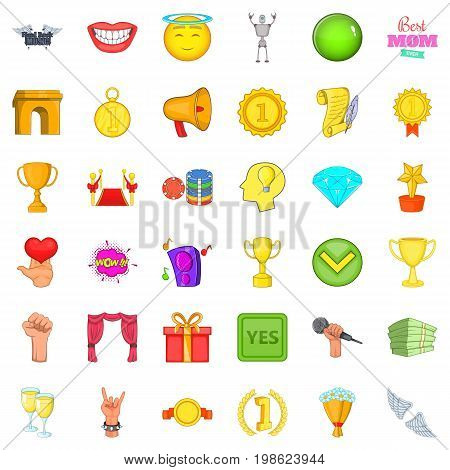 Winning cup icons set. Cartoon style of 36 winning cup vector icons for web isolated on white background