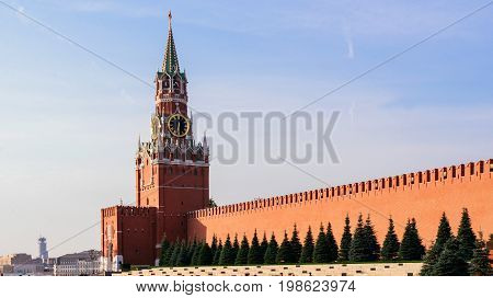 Spasskaya tower on Red Square in Moscow in the morning sun