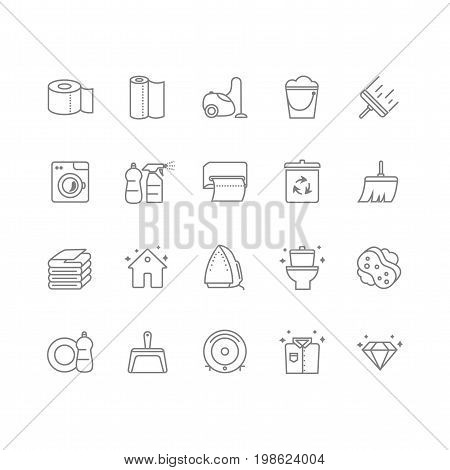 Set of 20 cleaning line icons. Contains icons such as a toilet, toilet paper, paper towels, a cleaner, laundry, iron, vacuum cleaner and much more. 64x64 pixel perfect. Vector illustration.