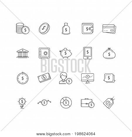 Set of 20 money and pyament thin line icons. Contains icons such as a Coins, bank, piggy bank, credit card, wallet, growth, investment and much more. 64x64 pixel perfect. Vector illustration.
