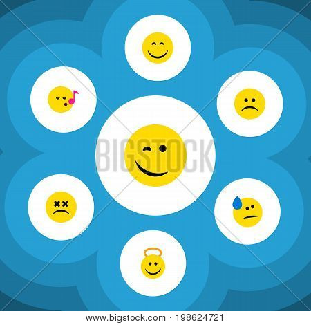 Flat Icon Face Set Of Tears, Cross-Eyed Face, Sad And Other Vector Objects