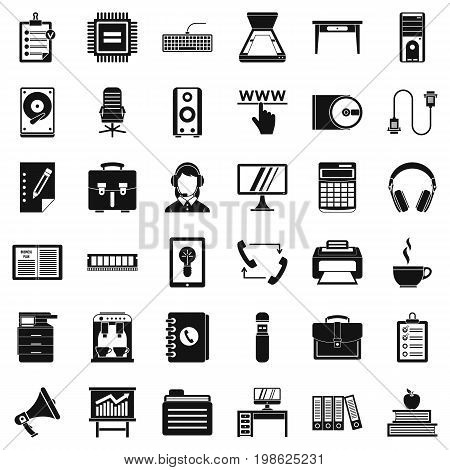 Work computer icons set. Simple style of 36 work computer vector icons for web isolated on white background