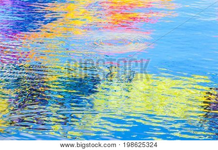 Colorful Reflections Over Ripple Water Surface