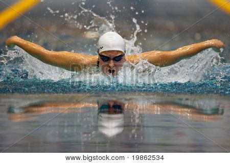 VIENNA, AUSTRIA - FEBRUARY 28: Indoor swimming championship: Nina Dittrich places second in th women's 200m butterfly event February 28, 2009 in Vienna, Austria.