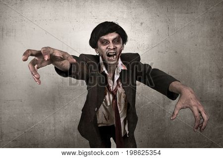Scary Asian Zombie Man With Bloody Face
