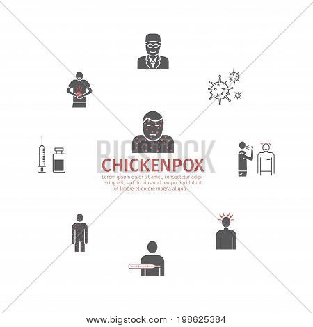 Chickenpox. Symptoms, Treatment. Flat icons set. Vector signs for web graphics