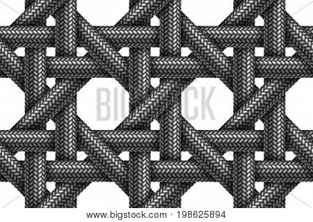 Vector seamless realistic pattern of woven fabric braided cords.
