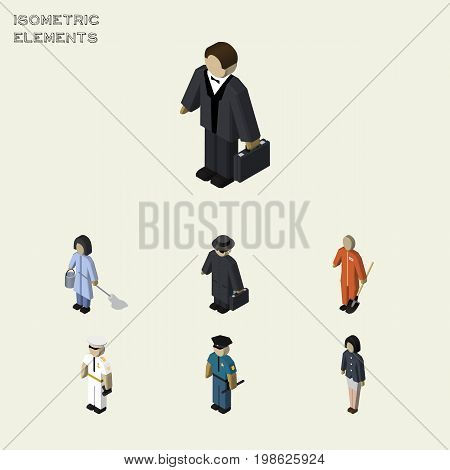 Isometric People Set Of Cleaner, Housemaid, Officer And Other Vector Objects