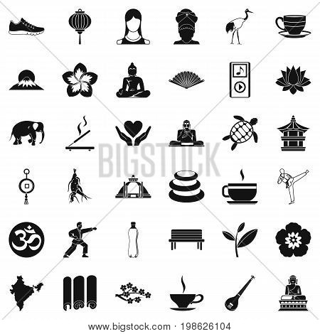 Yoga relaxation icons set. Simple style of 36 yoga relaxation vector icons for web isolated on white background