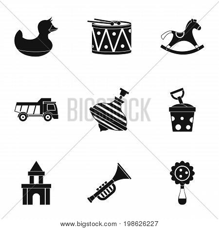 Variety of children toys icon set. Simple style set of 9 variety of children toys vector icons for web isolated on white background