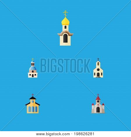 Flat Icon Christian Set Of Traditional, Church, Catholic And Other Vector Objects