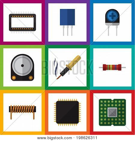 Flat Icon Appliance Set Of Receptacle, Resistance, Hdd And Other Vector Objects