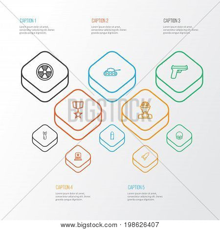 Warfare Outline Icons Set. Collection Of Bomb, Officer, Weapon And Other Elements