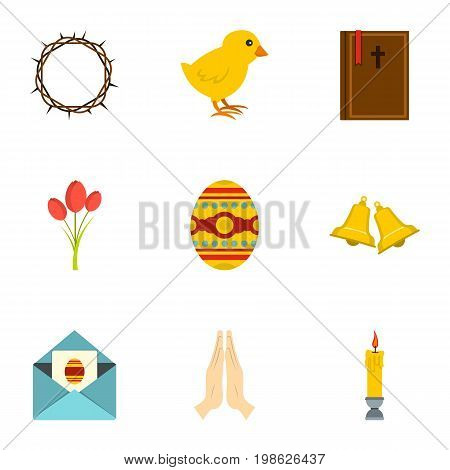 Holy Easter icon set. Flat style set of 9 holy Easter vector icons for web isolated on white background