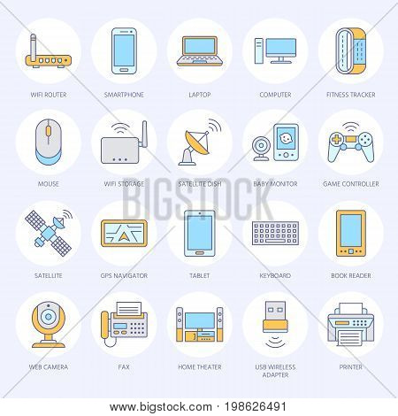 Wireless devices flat line icons. Wifi internet connection technology signs. Router, computer, smartphone, tablet, laptop, printer, satellite. Vector illustration colored sign for electronic store.