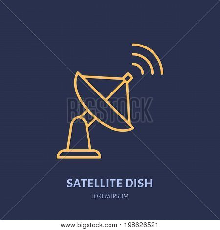 Satellite dish antenna flat line icon. Wireless technology sign. Vector illustration of interner connection.