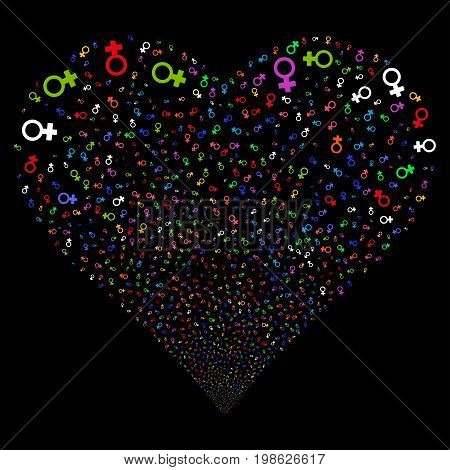 Venus Symbol fireworks with heart shape. Vector illustration style is flat bright multicolored iconic symbols on a black background. Object valentine heart done from random pictograms.