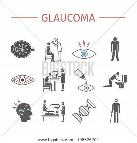 Glaucoma. Symptoms, Treatment. Flat icons set. Vector signs for web graphics