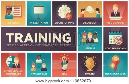 Business training - modern vector flat design icons and pictograms set. Presentation, meeting, discussion, goals, conference, speaker, brainstorming, awards, idea, networking, purchase, funnel