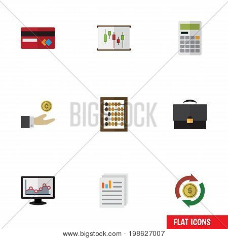 Flat Icon Incoming Set Of Chart, Counter, Document And Other Vector Objects