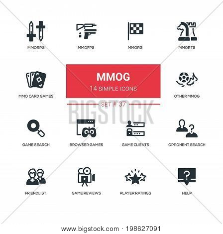 MMOG - modern vector line design icons, pictograms set. MMORPG, MMOFPS, MMORG, MMORTS, MMO card games, other MMOG, opponent, search, browser, clients, friendlist, reviews, player ratings, help