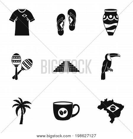 Symbols of Brasil icon set. Simple style set of 9 brazilan symbols vector icons for web isolated on white background