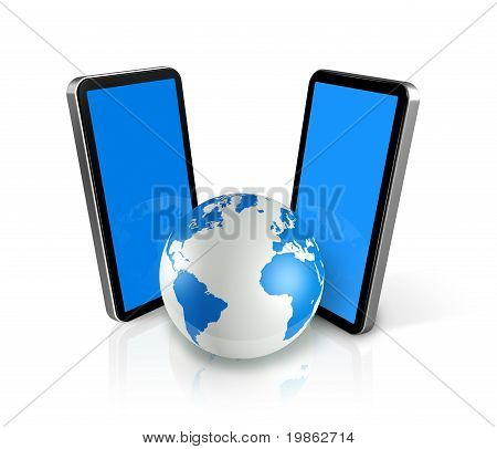 Two Mobile Phones Around A World Globe