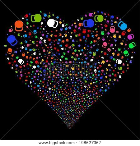 Weight fireworks with heart shape. Vector illustration style is flat bright multicolored iconic symbols on a black background. Object love heart organized from random design elements.