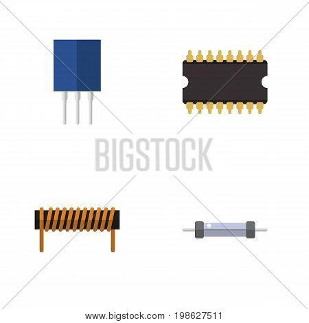 Flat Icon Device Set Of Bobbin, Receptacle, Microprocessor And Other Vector Objects