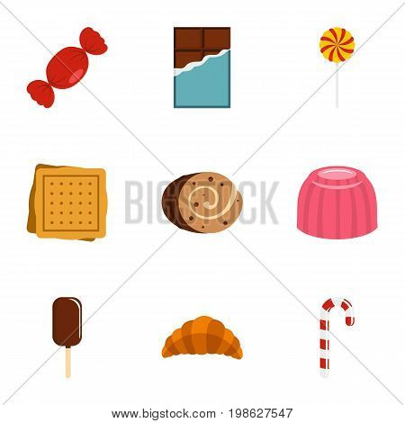 Sweet food icon set. Flat style set of 9 sweet vector icons for web isolated on white background