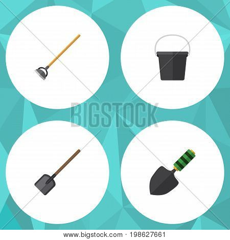 Flat Icon Farm Set Of Pail, Trowel, Shovel And Other Vector Objects