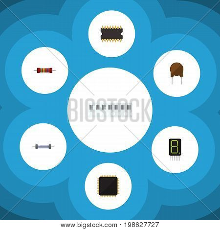 Flat Icon Electronics Set Of Cpu, Resistor, Microprocessor And Other Vector Objects