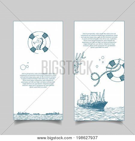 Leaflet. Marine theme. The lighthouse in the sea. Reefer sails on the waves of the sea. It can be use for a company that deals with cargo transportation or travel. Reefer Forward. Vector illustration