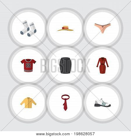 Flat Icon Garment Set Of Banyan, Foot Textile, T-Shirt And Other Vector Objects