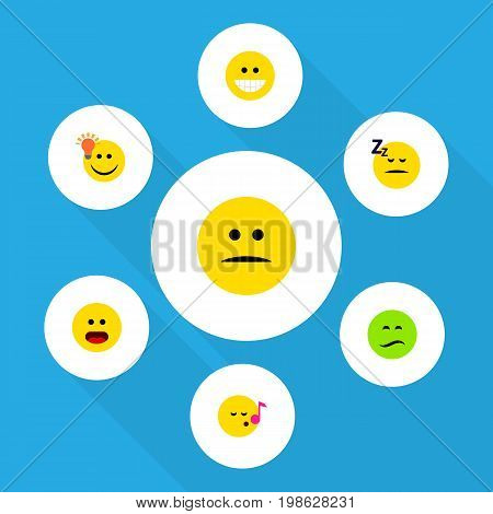 Flat Icon Expression Set Of Frown, Grin, Asleep And Other Vector Objects