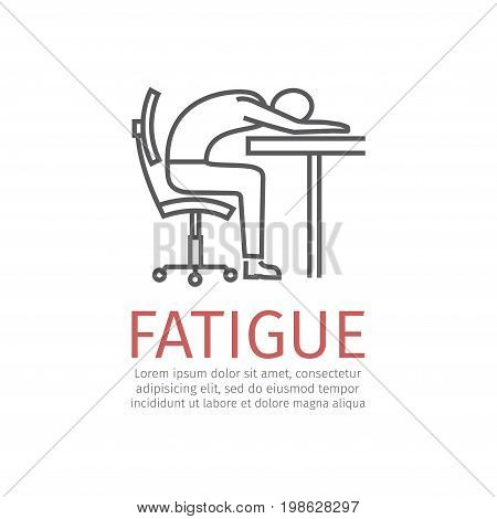 Fatigue sign. Vector icon for web graphic.