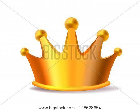 Realistic vector illustration of shiny golden metal king crown isolated on white background. Royal crown award for winner, leadership, champion. 3d design of gold crown