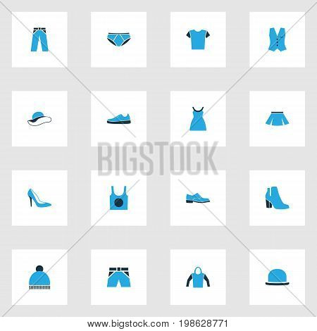 Clothes Colorful Icons Set. Collection Of Man Footwear, Panties, Heels And Other Elements