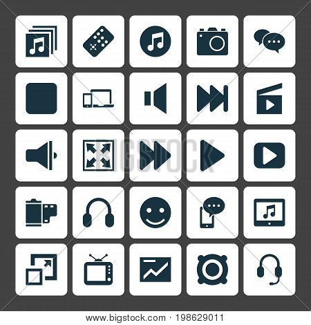 Media Icons Set. Collection Of Television, Music, Headset And Other Elements