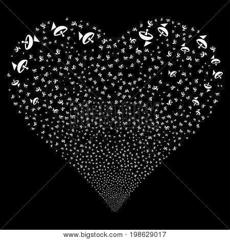 Antenna fireworks with heart shape. Vector illustration style is flat white iconic symbols on a black background. Object stream created from confetti symbols.
