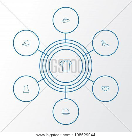 Dress Outline Icons Set. Collection Of Gown, Blouse, Shoe And Other Elements