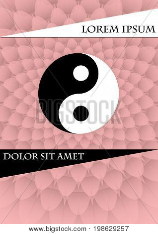 Jin jang symbol on pink textured background. Book cover placard flyer poster bill template with chinese tag of power vector EPS 10